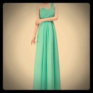 Mint One Shoulder Bridesmaid Dress